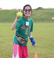 Shan Ackerman smiles for the camera during a practice for the Special Olympics Guam 2019 Softball Event at the Okkodo High School Field in Dededo, Oct. 12, 2019.