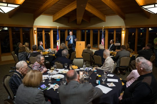 Matt Whitaker addresses the crowd during the Johnson County Republicans dinner at Brown Deer Golf Course in Coralville on October 11, 2019.