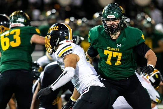 Cedar Rapids Kennedy's Connor Colby (77) blocks during a Class 4A varsity football game, Friday, Oct., 11, 2019, at Kingston Stadium in Cedar Rapids, Iowa.