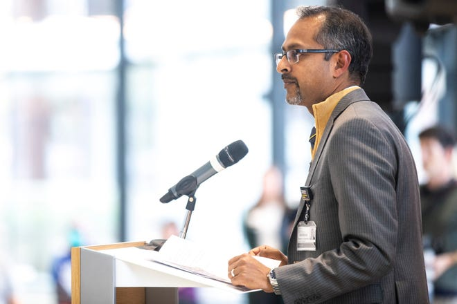 Suresh Gunasekaran, CEO of UIHC, speaks during a press conference, Friday, Oct., 11, 2019, at the University of Iowa Stead Family Children's Hospital in Iowa City, Iowa.
