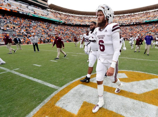 Mississippi State quarterback Garrett Shrader (6) walks off the field after a 20-10 loss to Tennessee in an NCAA college football game Saturday, Oct. 12, 2019, in Knoxville, Tenn.
