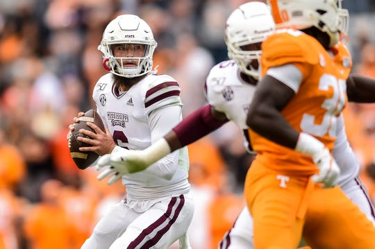 Oct 12, 2019; Knoxville, TN, USA; Mississippi State Bulldogs quarterback Garrett Shrader (6) drops back to pass in the fourth quarter of a game against the Tennessee Volunteers at Neyland Stadium. Mandatory Credit: Bryan Lynn-USA TODAY Sports
