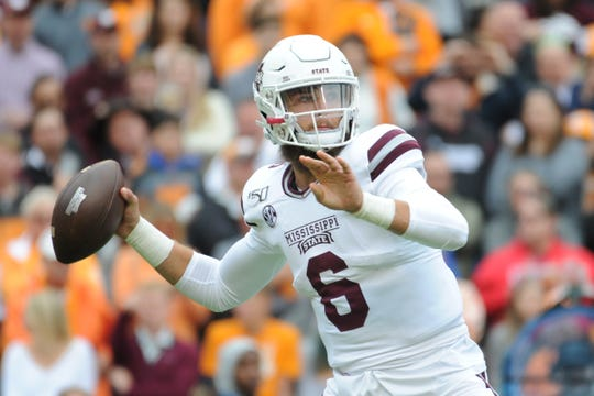 Oct 12, 2019; Knoxville, TN, USA; Mississippi State Bulldogs quarterback Garrett Shrader (6) passes the ball against the Tennessee Volunteers during the second half at Neyland Stadium. Tennessee won 20 to 10. Mandatory Credit: Randy Sartin-USA TODAY Sports