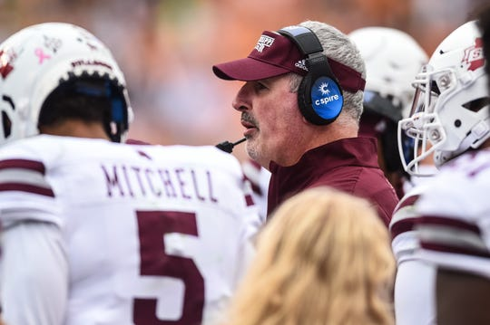 Oct 12, 2019; Knoxville, TN, USA; Mississippi State Bulldogs head coach Joe Moorhead in a game against the Tennessee Volunteers at Neyland Stadium. Mandatory Credit: Bryan Lynn-USA TODAY Sports