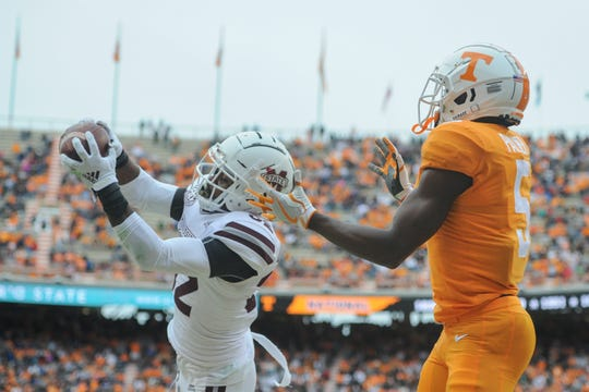 Oct 12, 2019; Knoxville, TN, USA; Mississippi State Bulldogs safety Brian Cole II (32) intercepts a pass in the endzone against Tennessee Volunteers wide receiver Josh Palmer (5) during the second quarter at Neyland Stadium. Mandatory Credit: Randy Sartin-USA TODAY Sports