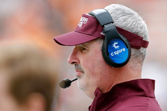 Mississippi State head coach Joe Moorhead watches during the second half of an NCAA college football game against Tennessee, Saturday, Oct. 12, 2019, in Knoxville, Tenn. (AP Photo/Wade Payne)