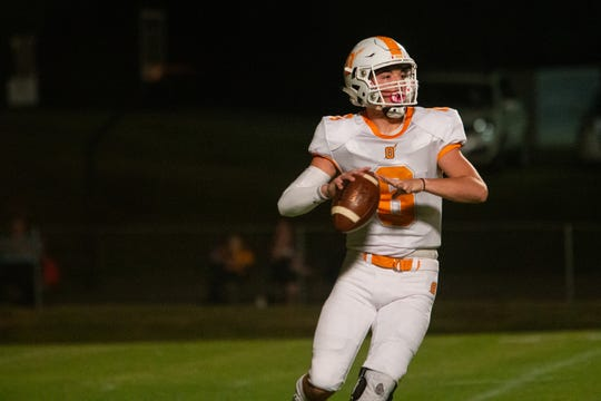 Oneida's Elijah West looks to pass during the King's Academy versus Oneida high school football game at King's Academy in Seymour Friday, Oct. 11, 2019.