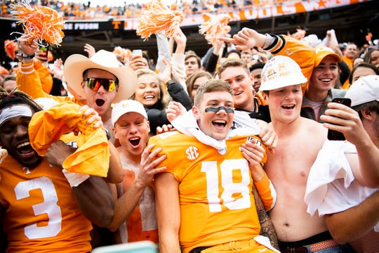 Tennessee quarterback Brian Maurer celebrates in the student section at Neyland Stadium in Knoxville after the Volunteers defeated Mississippi State, 20-10, in an SEC matchup on Saturday, Oct. 12, 2019.