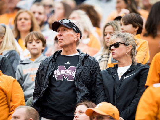 Mississippi State fans during Tennessee's home game against Mississippi State at Neyland Stadium on Saturday, October 12, 2019.