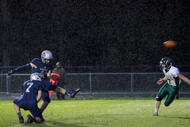 Central Catholic's Joaquin Gallo (42) kicks in an extra point during the first quarter of an IHSAA football game, Friday, Oct. 11, 2019 in Lafayette. Central Catholic won, 52-7