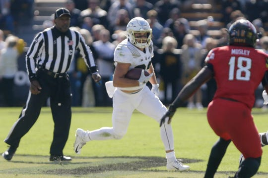 Purdue wide receiver Jackson Anthrop (33) runs the ball during the first half of a NCAA football game, Saturday, Oct. 12, 2019 at Ross-Ade Stadium in West Lafayette.