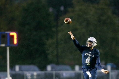 Central Catholic's Clark Barrett (4) throws during the first quarter of an IHSAA football game, Friday, Oct. 11, 2019 in Lafayette. Central Catholic won, 52-7