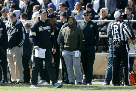 Purdue head coach Jeff Brohm reacts to a call during the first quarter of a NCAA football game, Saturday, Oct. 12, 2019 at Ross-Ade Stadium in West Lafayette.