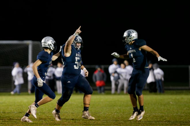 Central Catholic's Pete Spencer (54) celebrates a sack during the first quarter of an IHSAA football game, Friday, Oct. 11, 2019 in Lafayette. Central Catholic won, 52-7