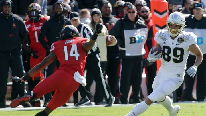 Absent no more, Purdue tight end Brycen Hopkins returns with big game