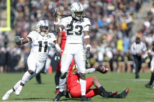 Purdue safety Cory Trice (23) celebrates a tackle during the second quarter of an NCAA football game, Saturday, Oct. 12, 2019 at Ross-Ade Stadium in West Lafayette.