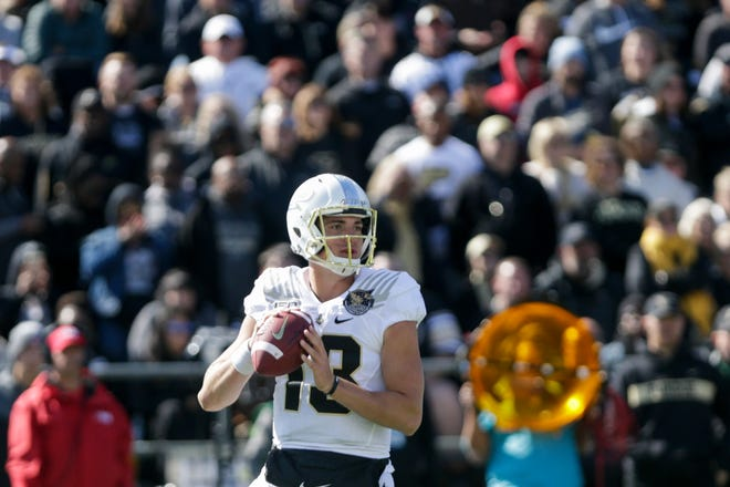 Purdue quarterback Jack Plummer (13) looks for a solution during the third quarter of a NCAA football game, Saturday, Oct. 12, 2019 at Ross-Ade Stadium in West Lafayette.