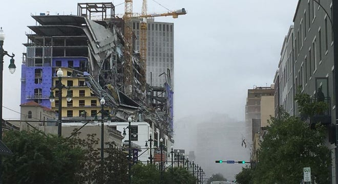 The Hard Rock hotel construction in New Orleans collapsed on Saturday, Oct. 12, 2019.