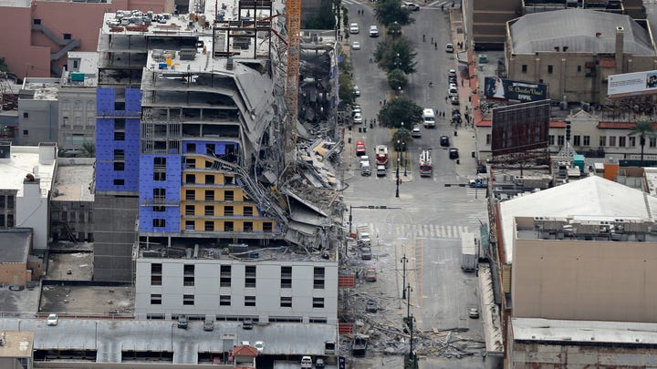 This aerial photo shows the Hard Rock Hotel in New Orleans, which was under construction, after a fatal partial collapse on Saturday, Oct. 12, 2019.