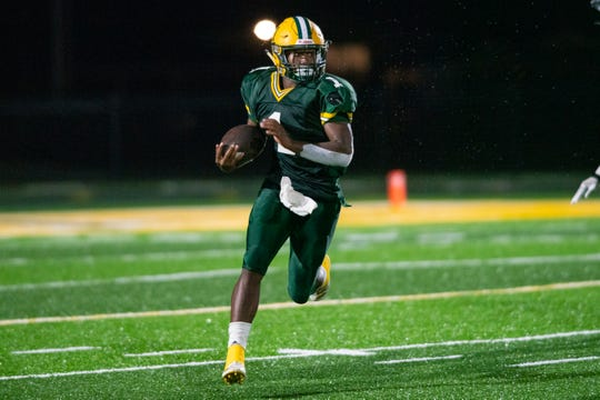 Cecilia High running back Danarious Journet moves the ball down the field as the Breaux Bridge Tigers take on the Cecilia Bulldogs on Friday, Oct. 11, 2019.