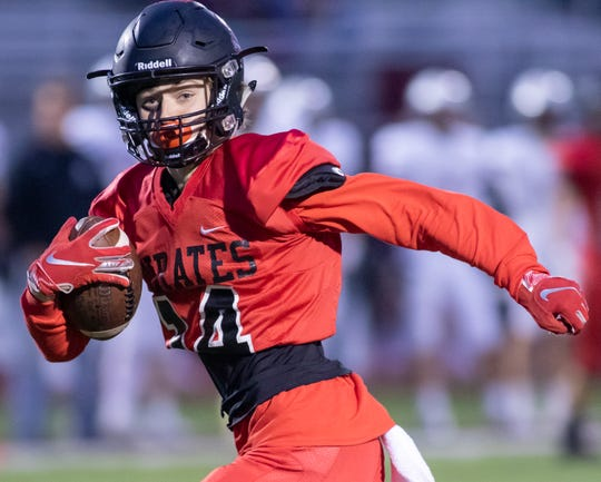 Pinckney receiver Caleb Wardlow caught 11 passes for 150 yards and a touchdown in a 49-25 loss to Dexter on Friday, Oct. 11, 2019.