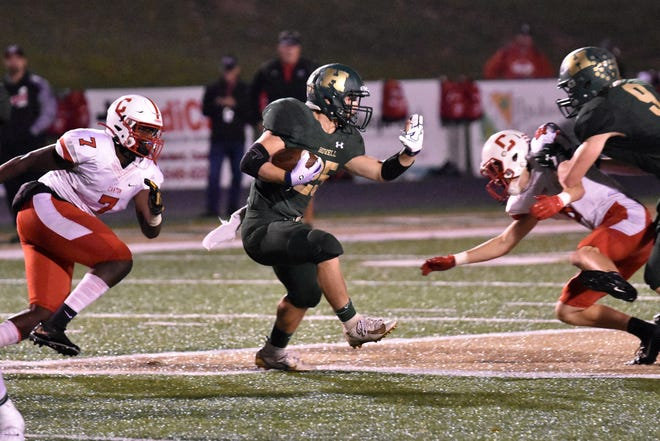 Howell's Jonah Schrock ran 24 times for 137 yards and two touchdowns in a 38-31 victory over Canton on Friday, Oct. 11, 2019.