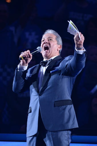 Bruce Buffer introduces players during the University of Kentucky basketball's annual Big Blue Madness at Rupp Arena in Lexington, Kentucky on Friday, October 11, 2019.