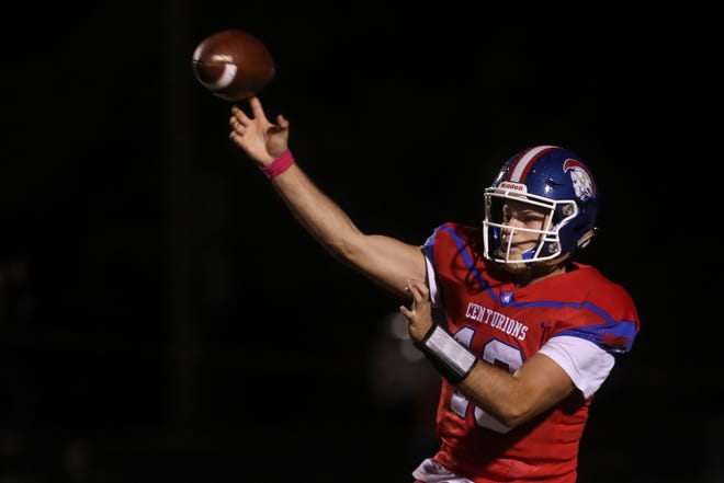 CAL's Anthony Sabatino with a pass against  DeSales on Oct. 11, 2019.