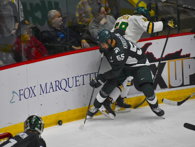 Michigan State's Patrick Khodorenko, shown in a game last month against Northern Michigan, scored two goals in the Spartans' 6-4 loss at Penn State on Saturday night.