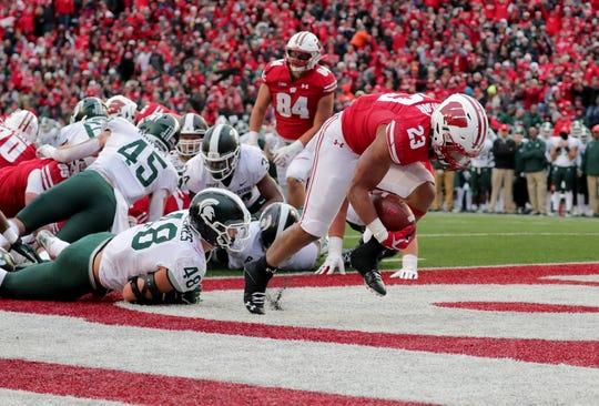 Wisconsin Badgers running back Jonathan Taylor (23) scores a touchdown during the 2nd half of the Wisconsin Badgers 38-0 win against Michigan State at Camp Randall Stadium in Madison, WI on Saturday, Oct. 12, 2019.   - Photo by Mike De Sisti/Milwaukee Journal Sentinel  ORG XMIT: DBY1
