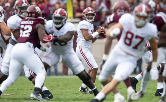 Alabama quarterback Tua Tagovailoa (13) looks to pass against Texas A&M at Kyle Field in College Station, Texas on Saturday October 12, 2019.
