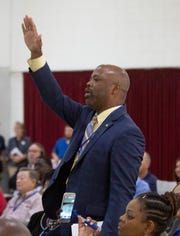 Alabama Rep. Christopher England calls for a contentious point of order during an Alabama Democratic Party meeting in Montgomery.
