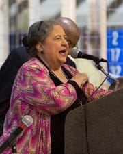 Alabama Democratic Party Chairwoman Nancy Worley runs a meeting in Montgomery.