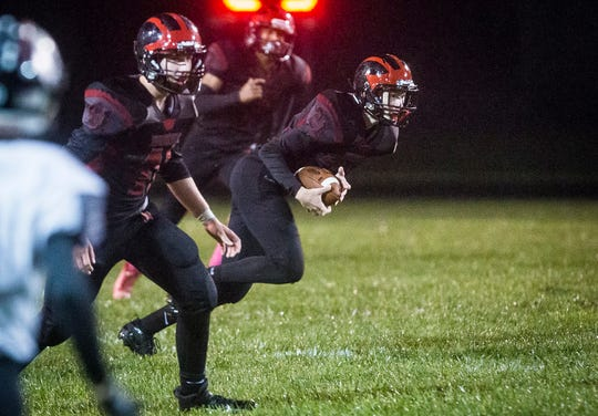 Blackford faces off against Eastbrook during their game at Blackford High School Friday, Oct. 11, 2019.