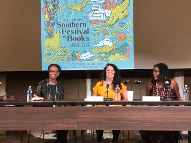 """Jennine Capo Crucet (middle) appears at the Southern Festival of Books. Next to her is author Kendra Allen (right). They took part in a discussion titled """"My Country Tis of Thee,"""" focused on race in America."""