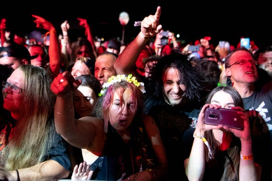 Fans watch Slayer perform during the Exit 111 Rock Festival at Great Stage Park Friday, Oct. 11, 2019, in Manchester, Tenn.