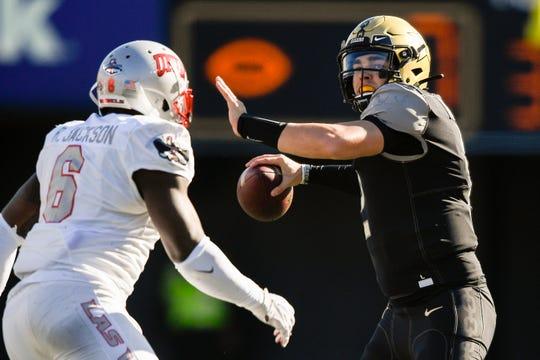 Vanderbilt quarterback Deuce Wallace (2) throws against UNLV during the first half at Vanderbilt Stadium in Nashville, Tenn., Saturday, Oct. 12, 2019.