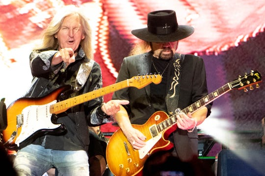 Mark Matejka and Gary Rossington of Lynyrd Skynyrd performs during the Exit 111 Rock Festival at Great Stage Park Friday, Oct. 11, 2019, in Manchester, Tenn.