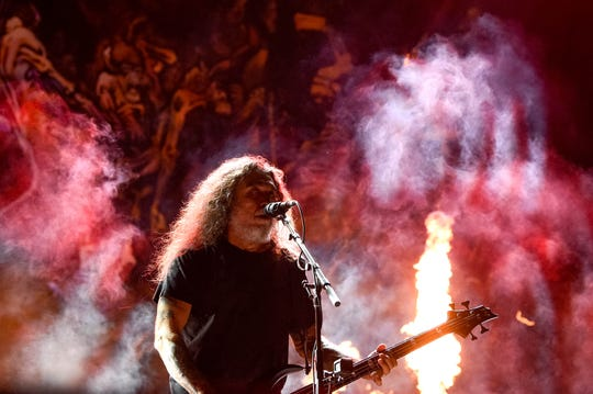 Tom Araya of Slayer performs during the Exit 111 Rock Festival at Great Stage Park Friday, Oct. 11, 2019, in Manchester, Tenn.