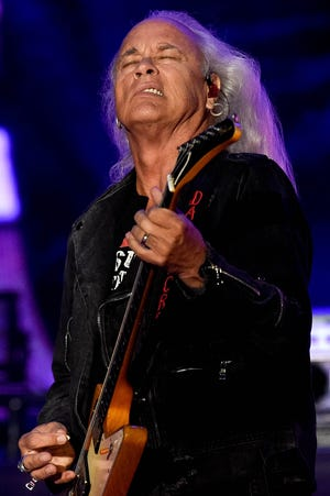 Rickey Medlocke of Lynyrd Skynyrd performs during the Exit 111 Rock Festival at Great Stage Park Friday, Oct. 11, 2019, in Manchester, Tenn.