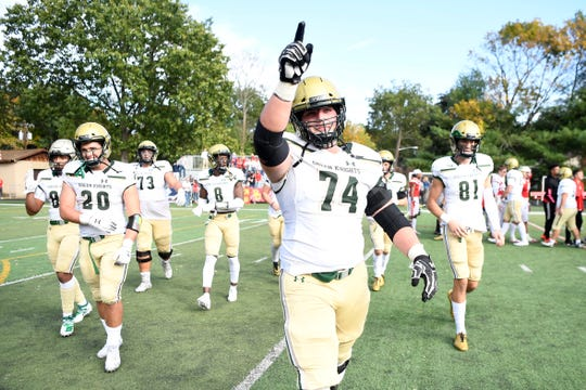 Luke Wypler (74) and the Green Knights defeat Bergen Catholic 28-10 on Saturday, Oct. 12, 2019, in Oradell.
