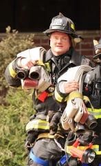Hackensack firefighter Richard Kubler in action.