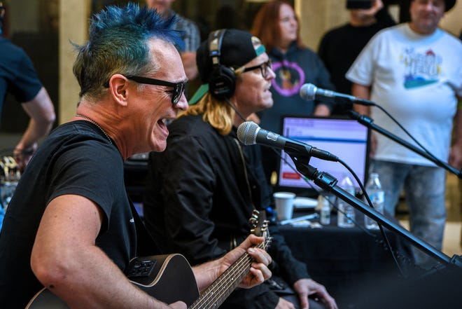 """Third annual WDHA """"Rock N Roll Up Your Sleeve"""" blood drive held at the Rockaway Townsquare Mall, managed by Vitalant on Saturday October 12, 2019. Matt Fuller and Wes Scatlin of Puddle of Mudd perform an acoustic set as part of the blood drive."""