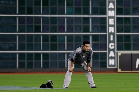 New York Yankees starting pitcher Masahiro Tanaka takes part in a workout for the baseball American League Championship Series in Houston, Friday, Oct. 11, 2019. The Yankees are scheduled to face the Houston Astros starting Saturday.