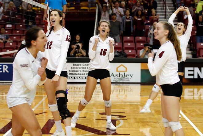 The New Mexico State volleyball team swept Grand Canyon on Saturday, Oct. 12, at the Pan American Center.