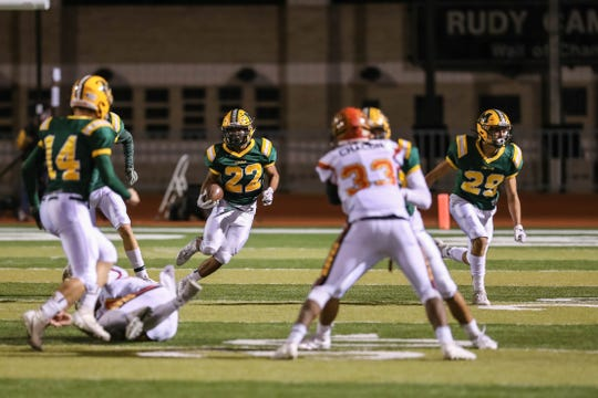 The Mayfield Trojans face off against the Centennial Hawks at the Field of Dreams in Las Cruces on Friday, Oct. 11, 2019.