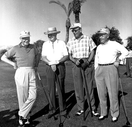 """President Dwight D. """"Ike"""" Eisenhower, far left, part of a golf foursome. The club would say that everyone wanted to play with Ike."""