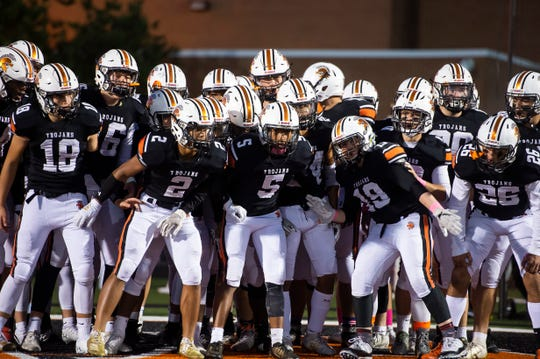 The York Suburban Trojans get pumped up before a YAIAA Division II football game against Gettysburg in Spring Garden Township on Friday, October 11, 2019.
