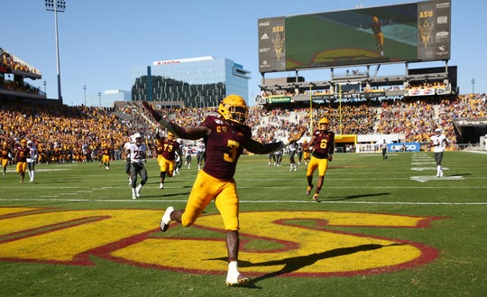 Arizona State Sun Devils running back Eno Benjamin (3) reacts after scoring a touchdown against the Washington State Cougars in the second half during a game on Oct. 12, 2019 in Tempe, Ariz.