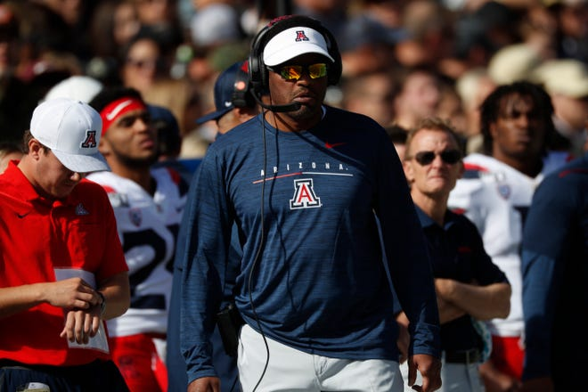 Arizona Wildcats head coach Kevin Sumlin in the first half of an NCAA college football game Saturday, Oct. 5, 2019, in Boulder, Colo.